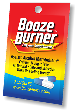 The Booze Burner packet has 2 capsules that help your liver work harder to eliminate alcohol, with no hangover.