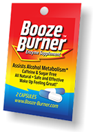Booze Burner single packet containing 2 capsules.
